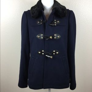Juicy Couture navy blue coat with faux fur